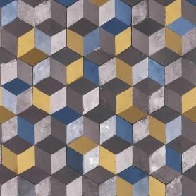 Papier peint Carreaux Cubes 3D bleu jaune - Reality 3 Réf 51181502