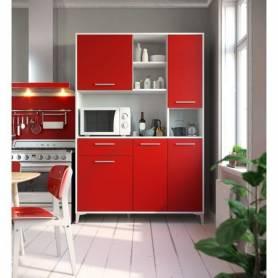 Buffet de Cuisine -  120*197*40 cm - Bois MDF - Rouge &Blanc