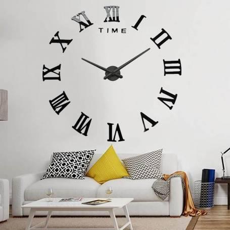 Horloge murale 3D chiffre romain Noir Gm