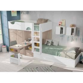 chambre enfant avec lit superposé chêne et blanc