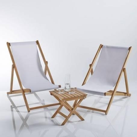 Deux chaises pliante réglable et une table magnifique