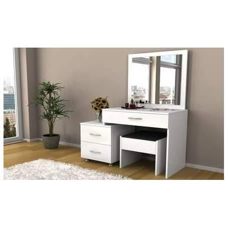 Coiffeuse Classique avec chaise - Bois MDF stratifié - 120*180*50cm - Blanc