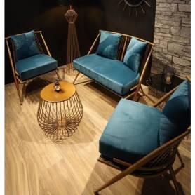 salon bleu 2 fauteuils et canapé 2 place métallique ( intérieur/extérieur)