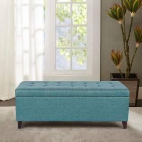 Pouf Coffre de Rangement 120*45cm - Turquoise