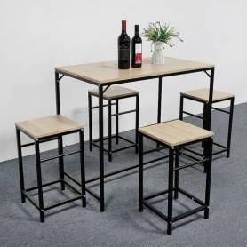 Table à manger et 4 chaises design contemporain  - Marron & Noir