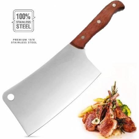 Couperet avec lame en inox - Manche en bois - Grand couteaux - Satour - 40 cm
