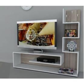 Meuble TV ZIGZAG - MDF stratifié - Blanc & Chêne