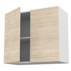 Meuble de cuisine haut ouvrant 2 portes   - Chêne claire - 80 * 72 * 33 cm