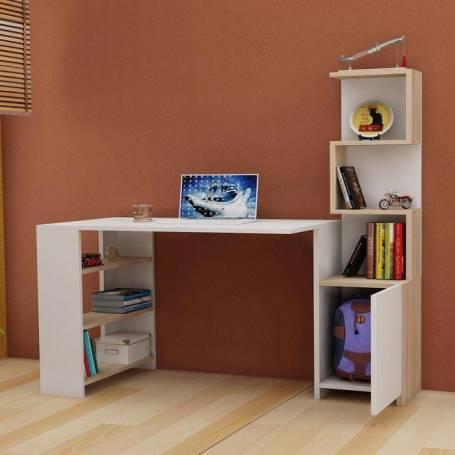 bureau avec étagère zigzag très pratique