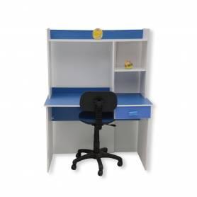 bureau enfant blanc et bleu