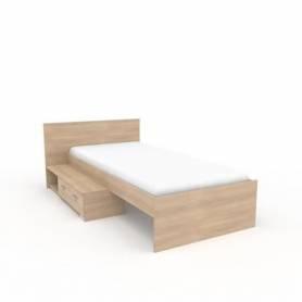 lit avec tiroir chêne