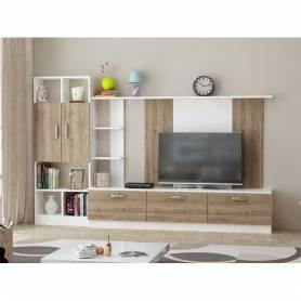 Meuble TV chêne et blanc