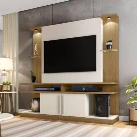 Meuble TV Selvia - Blanc &t Chêne - 180*180*30