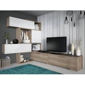 Meuble TV - Modulable  - Chêne & Blanc - Bois MDF stratifié
