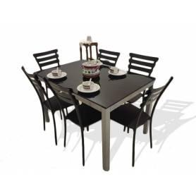Table Cuisine Luxy  Avec 6 chaises - 120cm*80cm - Gris Foncé