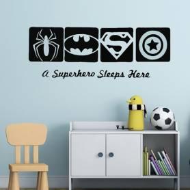 Sticker - A superhero sleeps here - 57*150 cm - noir - STICKER2047