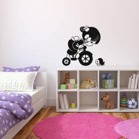 Sticker Fillette sur une bicyclette et tortue - 57*60 CM - NOIR - STICKER2098