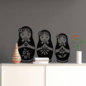 Sticker 3 poupées - 57*57 - NOIR - STICKER2095