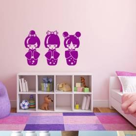 Sticker Asie 3 mignonnes figurines - 57*91 CM - MAUVE - STICKER2079-1