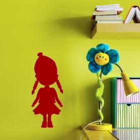 Sticker poupée avec des tresses - 57*136 CM -ROUGE - STICKER2078-1
