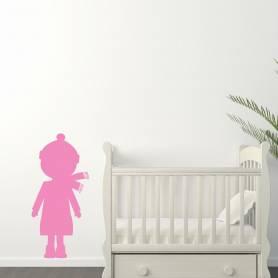 Sticker silhouette petite fille - 57*120 CM - ROSE - STICKER2076-1