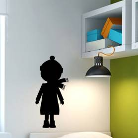 Sticker silhouette petite fille - 57*120 CM - NOIR - STICKER2076