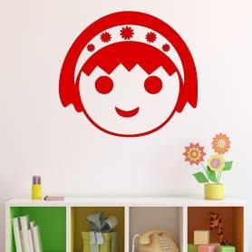 Sticker visage de fille avec serre-tête - 57*62 CM - ROUGE - STICKER2074-2