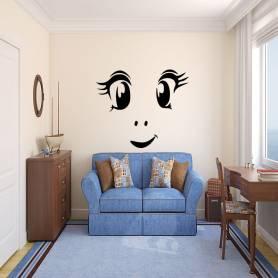 Sticker Enfant jolie visage - 57*67 cm - noir - STICKER2073