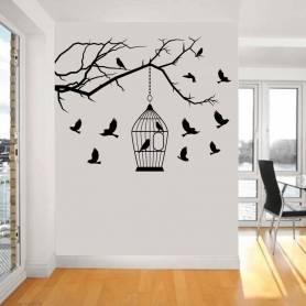 Sticker - oiseaux - 57* 75 cm - noir - STICKER2067
