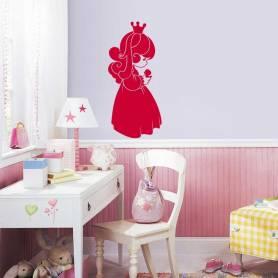 Sticker Jolie petite fille avec couronne - 57*125 cm - ROUGE - STICKER2102-1