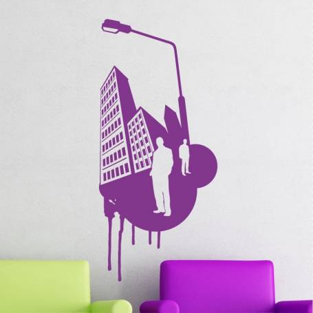 Sticker design urbain 2 - 57*125 cm - mauve - STICKER2172-1