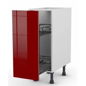 ARCHICUISINE Meuble Bas - 1 Porte Bouteille & Pain  - 30* 72 * 58 cm- Rouge