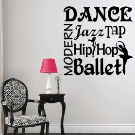 Sticker musique modern dance, jazz, tap - 57*57 cm - noir - STICKER2180