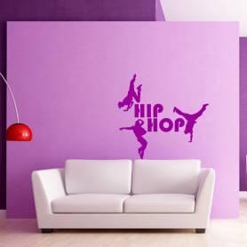 Sticker Silhouette danseurs Hip hop - 57*69 CM - MAUVE - STICKER2255-1