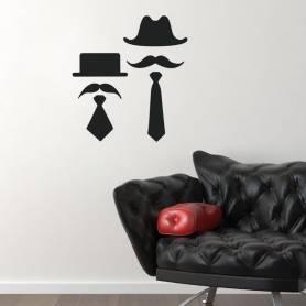 Sticker Chapeaux, moustaches et cravates - 57*62 CM - NOIR - STICKER2441
