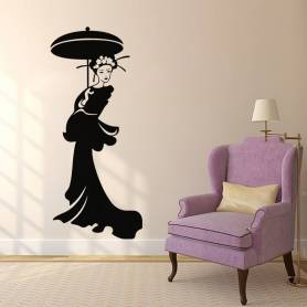 Sticker Femme avec parapluie rond - 57*131 CM - NOIR - STICKER2296