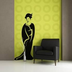 Sticker Femme avec robe traditionnelle - 57*130 CM - NOIR - STICKER2295