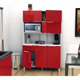 Buffet De Cuisine  - Bois MDF Stratifié - 115 *197*44cm  - Rouge