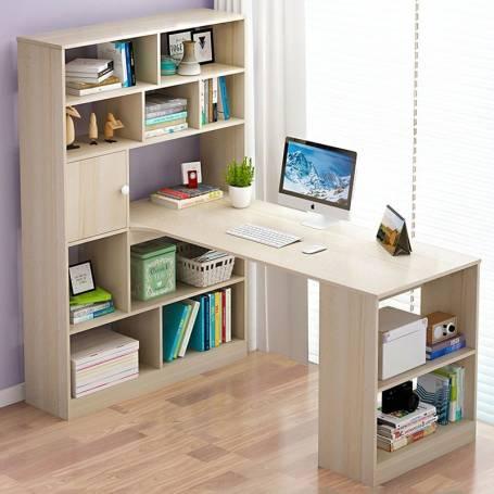 Bureau d'angle avec bibliothèque - Chêne clair