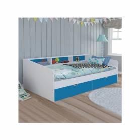 Lit bibliothèque - Bois MDF Stratifié -60*80*200 cm - Bleu