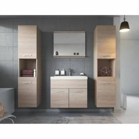 Meuble salle de bain à 2 colnnes - Bois MDF  Stratifiée - Chêne