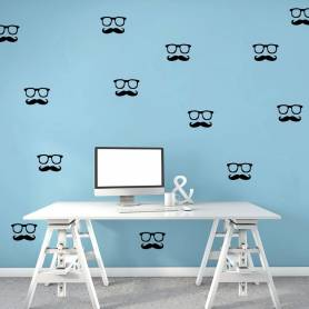Sticker 25 Moustache Et Lunette -sticker220 - 5*9 cm