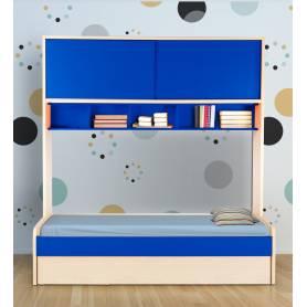 Lit enfant HEDIL - 198*240*94 cm - Bois MDF Stratifié - Bleu& Chêne