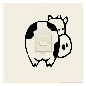 Sticker-vinyle-autocollant- Vache Pour Prise Mural  -sticker301 -16*16 cm