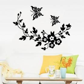 Sticker Papillon Et Fleurs...