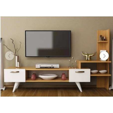 Meuble TV  Sensing - Bois MDF Stratifiée - 151*90*35 cm - Blanc & chêne