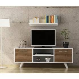 Meuble TV IRMAK - Bois MDF Stratifiée  - 120* 45 *35 cm - Blanc &Chêne Hêtre