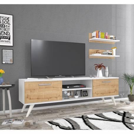 Meuble TV  Dora - Bois MDF Stratifiée - 150*45*35 cm