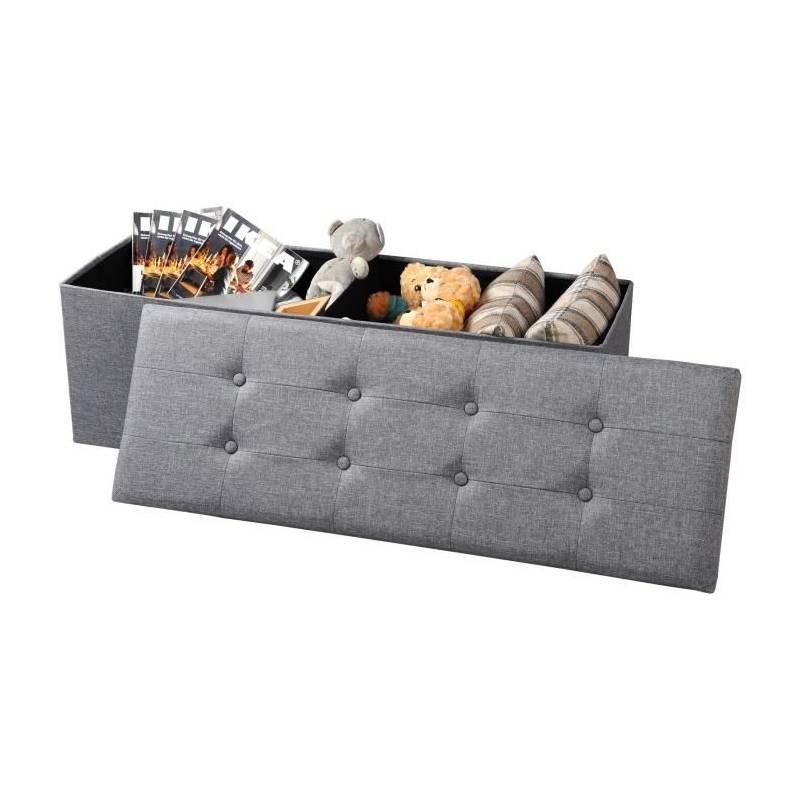 pouf coffre de rangement gris Pouf de rangement, peut être utilisé comme banc, fabriqué par ...