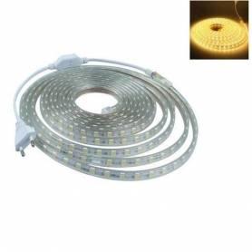 10m Ruban led avec fiche d'alimentation - 220 v - Étanche - Blanc chaud